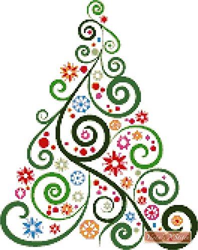 amazon com abstract christmas tree no2 counted cross stitch kit