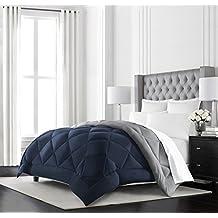 Beckham Hotel Collection Goose Down Alternative Reversible Comforter - All Season - Premium Quality Luxury Hypoallergenic Comforter - Full/Queen - Navy/Sleet