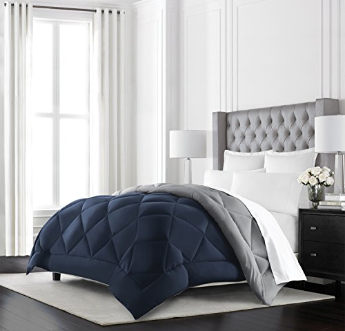 Beckham Hotel Collection Goose Down Alternative Reversible Comforter - All Season - Premium Quality Luxury Hypoallergenic Comforter - Full/Queen - Navy/Sleet
