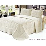 California King Quilt 3 pc Bedding Bed set / Bedspread / embroidered / 2 pillow sham, Cream