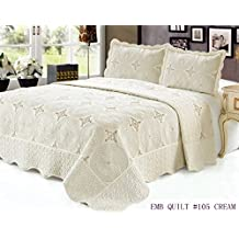 King Quilt 3 pc Bedding Bed set / Bedspread / embroidered / 2 pillow sham, Cream
