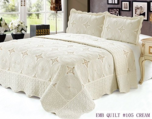 Quilt Queen Size 3 pc Embroidered Bed set / Bedspread / 2 Pi