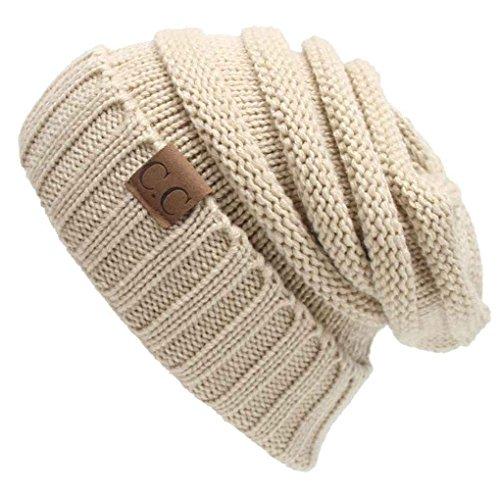 Basic Unisex Adult Warm Chunky Soft Stretch Cable Knit Beanie Cap Hat Xuanhemen