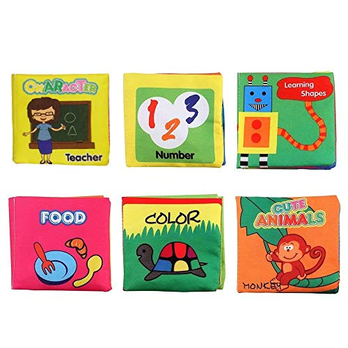 J-Sterne Cloth Book Baby, Baby's First Non-Toxic Soft Cloth Book Set, infant Children Educational Toys, Baby Gifts for Boy and Girl, Colorful-Pack of 6 (Friction with a rustling Sound)