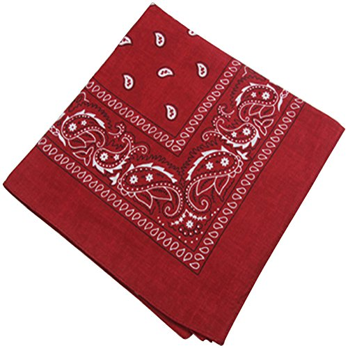 Printing Head Scarf Cotton Small Square Hair Wrap Burgundy for Women - Men With Small Head