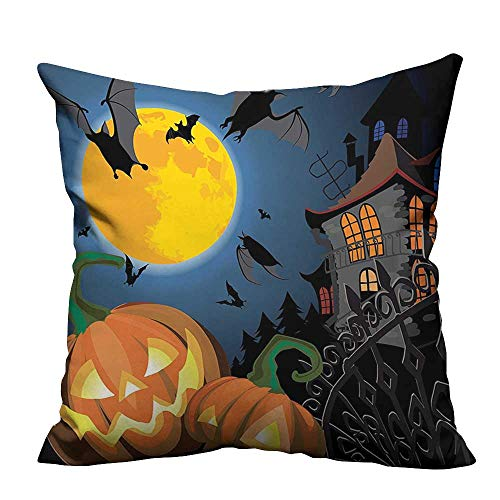 YouXianHome Decorative Couch Pillow Cases Gothic Scene with Halloween Haunted House Party Theme Trick or Treat Easy to Wash(Double-Sided Printing) 24x24 inch -