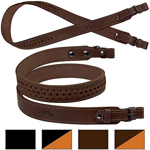 BronzeDog Braided Leather Strap Hunting Accessories Adjustable Rifle Sling Shotgun (Brown with Matching Braiding)