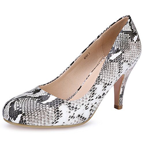 egant Round Toe High Heel Pump Shoes (Snake White, 6 B(M) US) ()