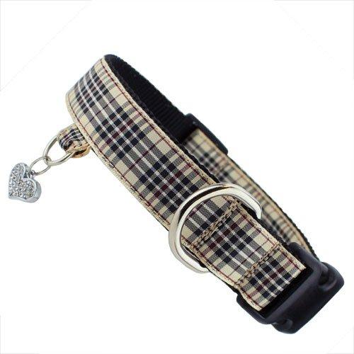 London Furberry Plaid Dog Collar with tab for Dog ID, Charm