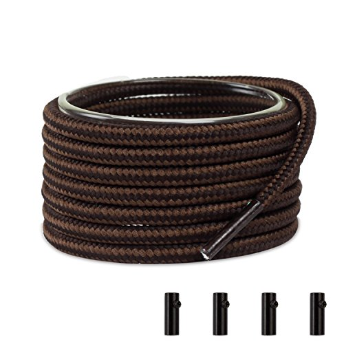 Shoemate Two-Tone Round Heavy Duty Boot Laces for Work Boots & Hiking Shoes with 4 Shoelace Tip Algets, Dark Brown & Tan, 27