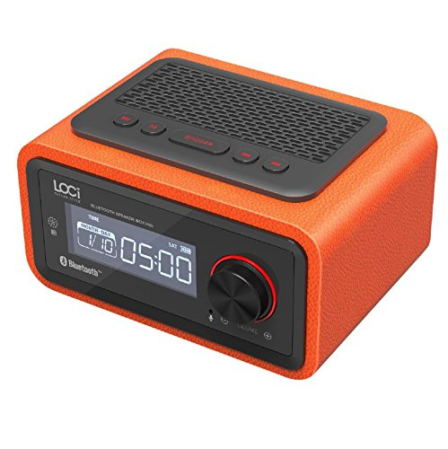 HWTP Mini Clock Wireless Free Alarm Setting FM Radio Function Bluetooth Plug-in Speaker Portable Multimedia Small Stereo Subwoofer,Orange