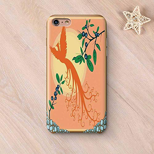 (Flying Birds Decor Wear Resisting Compatible with iPhone Case,Silhouette of Mystic Phoenix Bird Flying Over Sun Grape Leaves Magic Fearthers Artprint Compatible with iPhone 7/8,iPhone 6 Plus / 6s plu)