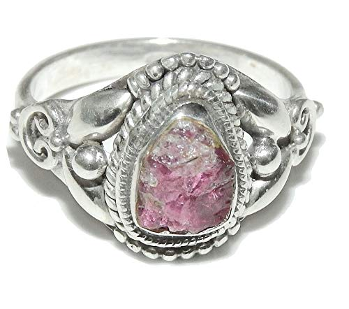 SunnyCrystals Pink Tourmaline Ring Natural Gemstone Sterling Silver Handcrafted Jewelry Size 7 TMLT003