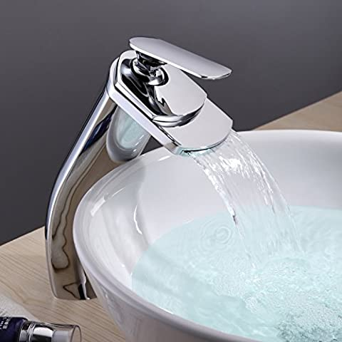 Lightinthebox Deck Mount Contemporary Widespread Waterfall Bathroom Lavatory Vessel Sink Faucet Tall Curve Spout Bar Faucets Single Hole Ceramic Valve Included Bathtub Mixer - Wall Mount Widespread Sink