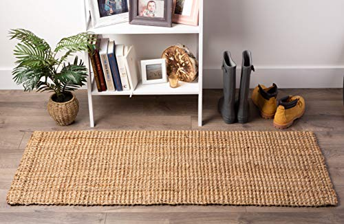 Neutral Eco-Friendly Sturdy Rolled Natural Indoor/Outdoor Jute Rug, 22x60