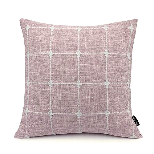 Booque Valley Plaid Pillow Cover 17 x 17 inch, Soft Polylinen Woven Woven Texture Cushion Cover, Hand Made Check Pillow Case for Sofa Bed Car Chair, Single Piece(Pink)