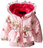 Steve Madden Baby-Girls Infant Ruffled Floral Print Pongee Puffer Hooded Jacket, Flower Pink, 24 Months