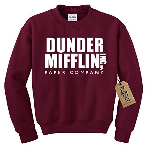 NuffSaid Dunder Mifflin Crewneck Sweatshirt - Sweater - Premium Quality TV Shirt Sweatshirt (Large, Maroon)