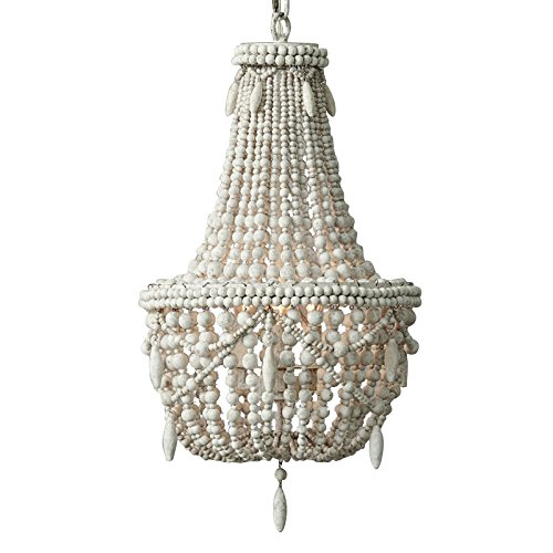 KunMai Classic Farmhouse Distressed Wood Beaded Basket 3-Light Chandelier in Antique White/Gray (Antique White) ()
