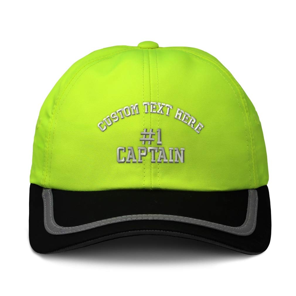 Custom Reflective Running Hat Number #1 Captain Embroidery Polyester One Size