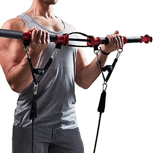 TENSION TONER – Develop Total Body Strength and Lean Muscle – Over 70 Full Body Exercises – Patented Home Gym System – Best Traveling Gym