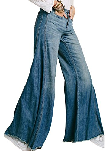 ABCWOO Womens Comfy Flared Jeans Stretchy High Waist Casual Denim Bell Bottom Pants