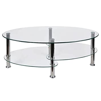 Vida Designs Cara Glass Coffee Table with Oval Stainless Steel Legs ...