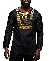 Makkrom Mens African Dashiki Shirts V Neck Long Sleeve Floral Print Fashion Tops