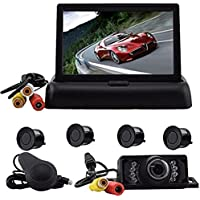 Elife Hot Sell Popular Weatherproof 4 Parking Sensors Car Backup Reverse Radar Kit Voice Alert Radar Detectors +4.3 Inch Foldable Color LCD TFT Rearview Monitor Screen Car Video Monitor+ LED Reverse Color Video Camera Kits