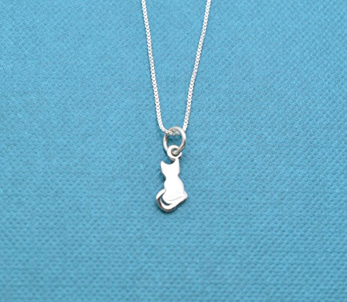 Little girl kitty cat necklace in sterling silver on a 14 inch sterling silver rolo chain Little girl gift Girl. Little girl necklace