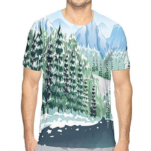 3D Printed T Shirts,Wildwood in Winter Season with Snowy Mountains and Frozen River Cartoon Style