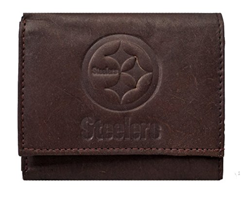 Rico Pittsburgh Steelers NFL Embossed Logo Dark Brown Leather Trifold Wallet