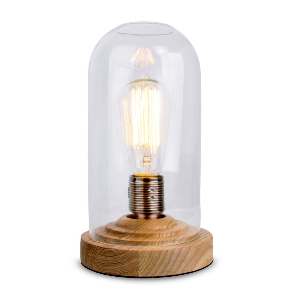 Vintage style desk lamp - Designer Antique Oak Effect Wood Base And Clear Glass Dome Edison Steampunk Squirrel Cage Table Lamp Amazon Co Uk Lighting