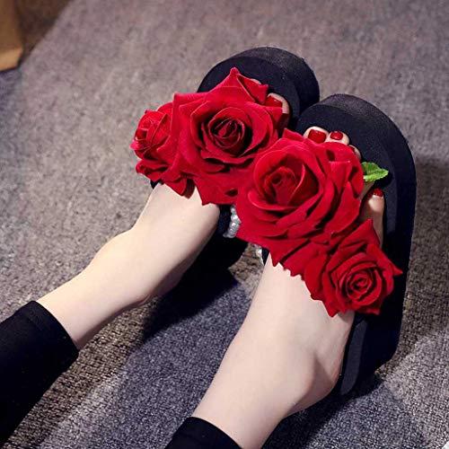 Chaussures Papillons Sunnywill Floral Pantoufles De Tongs Noir2 Wedges Plage Femme Sandales d67anS70wq