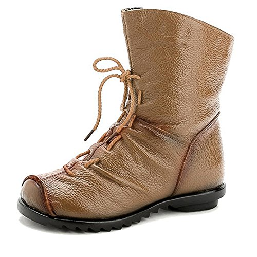 New Women Fashion Vintage Genuine Leather Shoes Female Spring Autumn Platform Ankle Boots Woman Lace Up Casual Boots No Fur Camel -