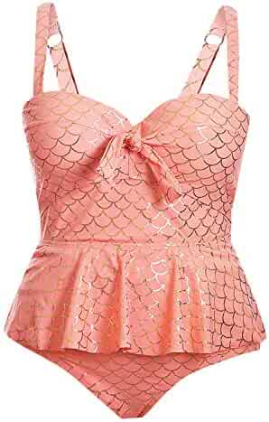 9485c2ed32 Blibea Womens Plus Size Floral Print Tankini Swimsuit Two Piece Bathing  Suits M-3XL