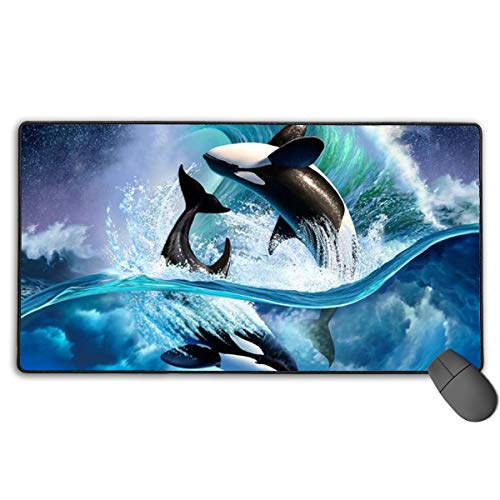 Extended Gaming Mouse Pad, Anti-Slip Rectangle Rubber Mousepad, 29.53 X 15.75 Inch XXL Computer Mat with Killer Whales -