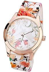 Suppion Women Silicone Printed Flower Causal Quartz Wrist Watches Orange