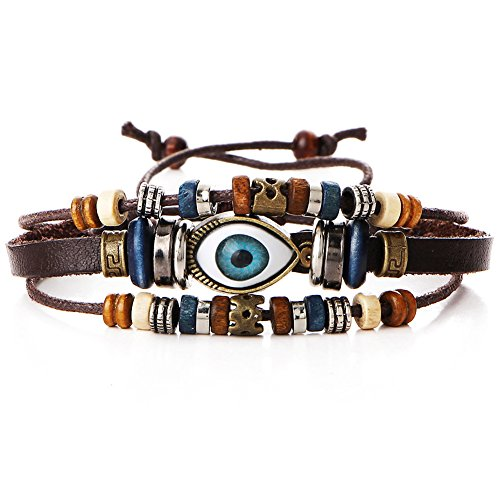 eyeball multi - layer adjustable beaded bracelet hand - woven cowhide bracelet (brown) ()
