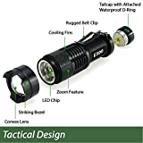 EcoGear FX Bright Mini Tactical LED Flashlight (E300): Perfect for Security, Tactical and General Use - Zoom Function and 3 Light Modes