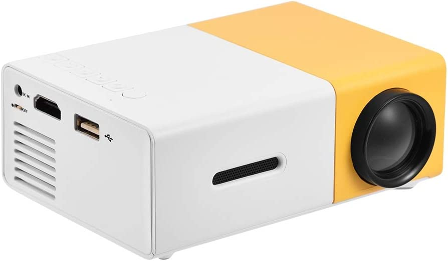 Portable LED Projector for Home Theater, Mini LED Projector for outdoor, HD HDMI Multimedia Player Support 480P, 576P, 720P, 1080P Video, AV/ USB/ HDMI/ Memory Card Input Portable Projector(Yellow)