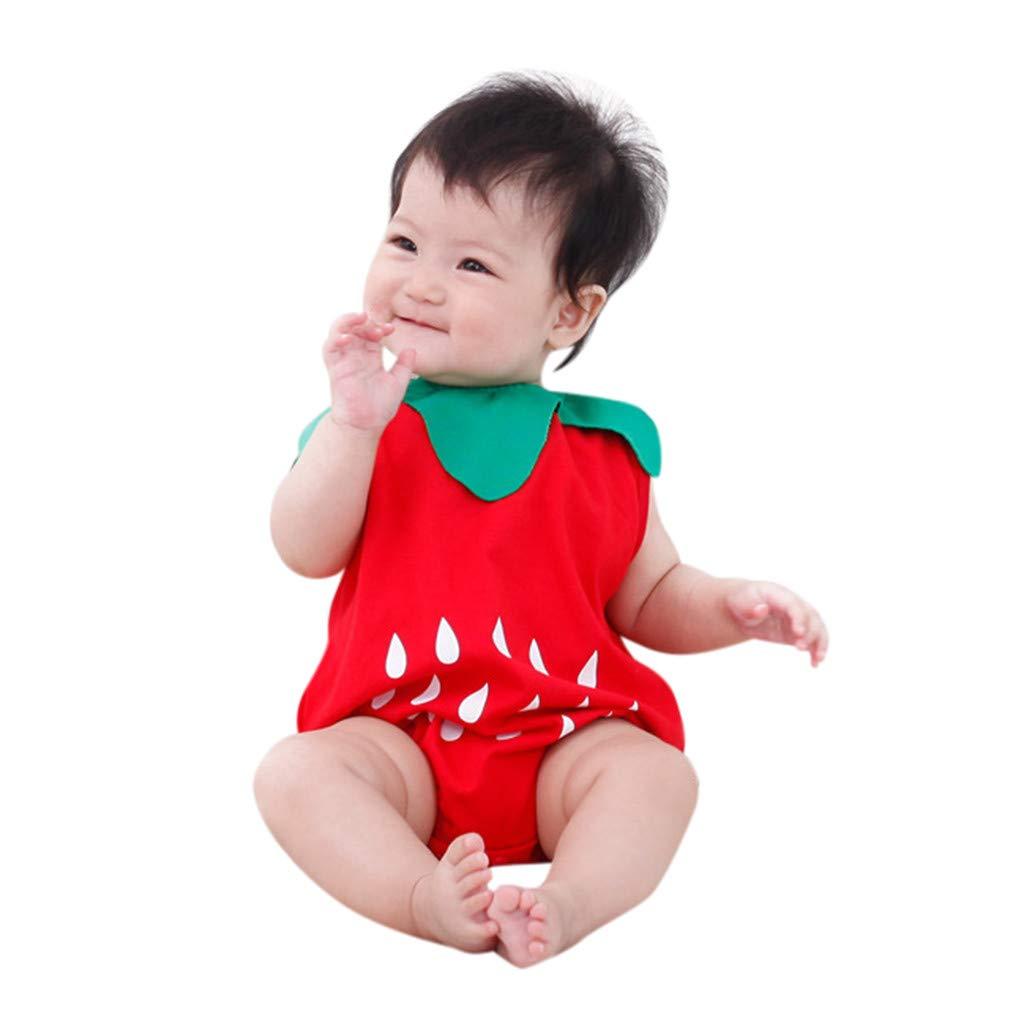 Newborn Boys Girls Jumpsuit, Infant Kids Baby Lovely Bodysuit Fruit Strawberry Pineapp Print Romper (18-24 Months, Red)