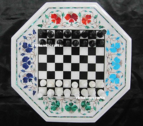 "13"" Octagon White Marble Chess Cum End Table Top Marquetry Art Inlay Floral Design"