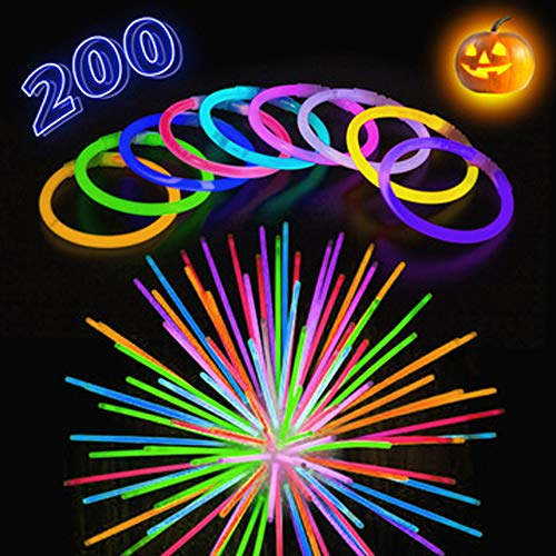 """Glow Stick Bracelets for Halloween - 200 Pack Extra Bright Glow in The Dark Light Sticks with Strong Connectors - 8"""" Bulk Wristbands in 9 Vibrant Neon Colors - Supplies to Light Up Any Kids Party"""
