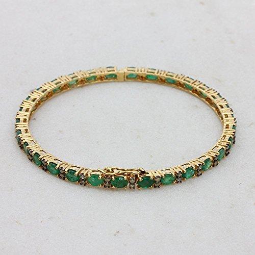 Green Emerald Gemstone Solid 14k Yellow Gold Pave Diamond 1.3 Ct. Handmade Fine Bangle Bracelet - Yellow Emerald Bracelet Gold