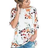 Clearance! ZOMUSA Womens Floral Printing Loose Short Sleeve Blouse (XL, white)