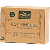 Go Bamboo 100% Biodegradable 200 Cotton Buds, 200 count Pack of 1