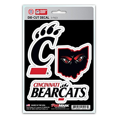 NCAA Cincinnati Bearcats Team Decal, 3-Pack (Cincinnati Bearcats Basketball)