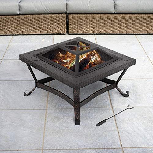 Amazon.com: Fuego Pit de 9.8 in cuadrado chimenea metal ...