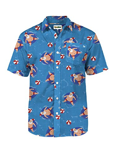 (Men's Pool Boy Santa Hawaiian Christmas Button Down Shirt (Large))